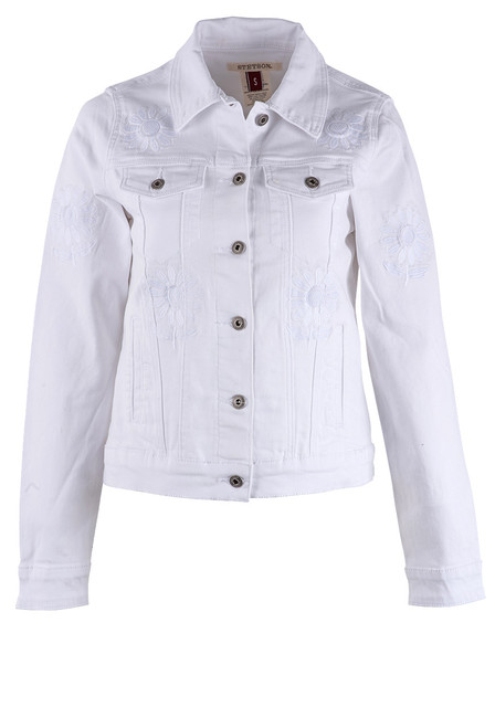 Stetson Women's Floral Embroidered White Denim Jacket