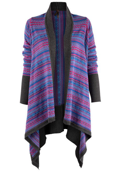 Stetson Women's Intarsia Asymmetrical Sweater Cardigan