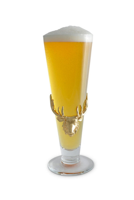Arthur Court 24K Gold Plated Elk Head Pilsner Glass