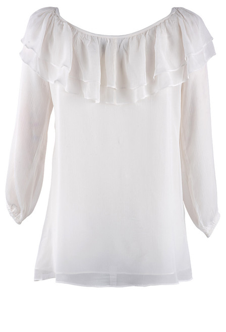 Vintage Collection Double Ruffle Chiffon Top - Back