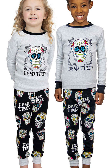 Lazy One Kids Dead Tired Pajama Set - Front Model