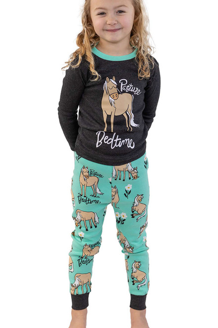 Lazy One Kids Pasture Bedtime Pajama Set - Model Front