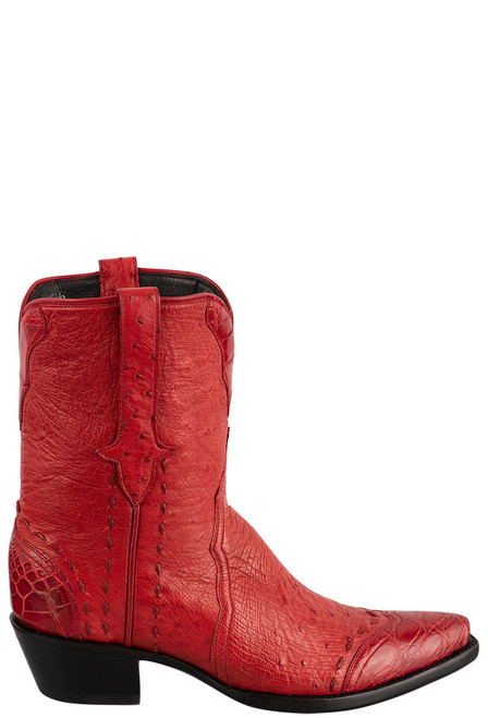 Stallion Women's Red Smooth Ostrich Boots - Side
