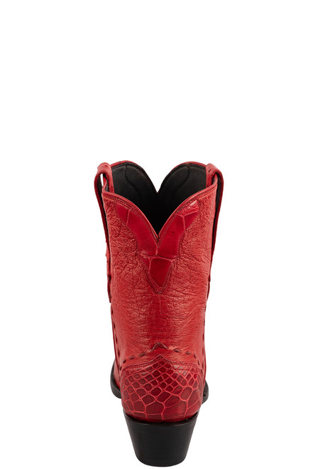 Stallion Women's Red Smooth Ostrich Boots - Back