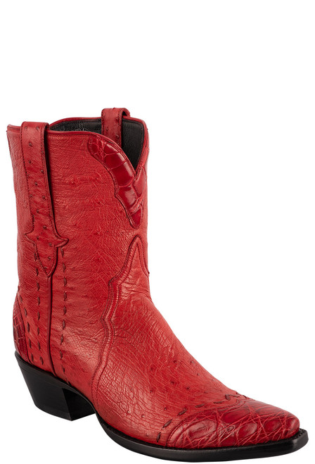 Stallion Women's Red Smooth Ostrich Boots - Angle