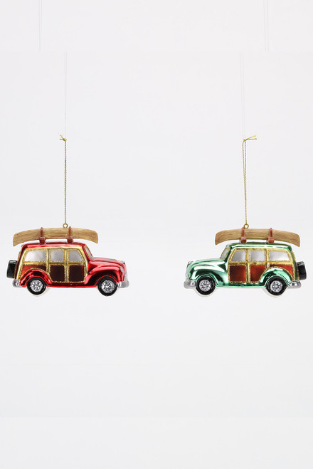 180 Gifts Woody Station Wagon with Canoe Christmas Ornament