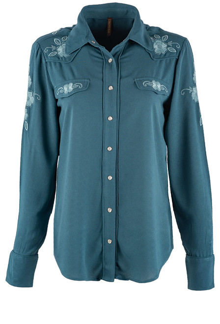 Stetson Apparel Crepe Western Button Up Blouse - Front