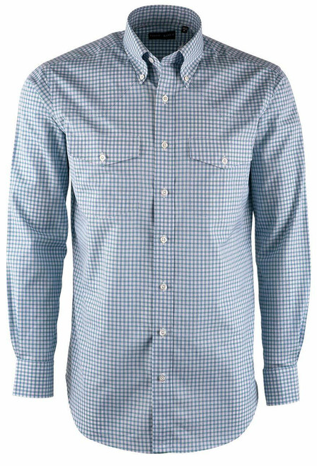 Pinto Ranch YY Collection Mint, Dusty Blue & White Check Poplin Shirt - Front