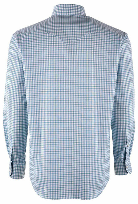 Pinto Ranch YY Collection Mint, Dusty Blue & White Check Poplin Shirt - Back