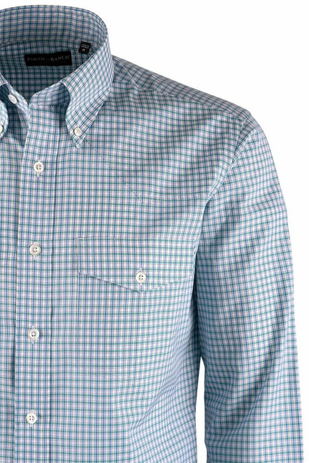 Pinto Ranch YY Collection Mint, Dusty Blue & White Check Poplin Shirt