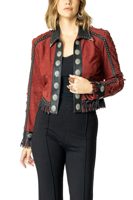 Double D Ranch Crazy Town Jacket - Front- Burgundy