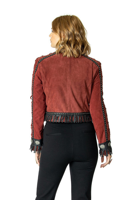Double D Ranch Crazy Town Jacket - Back - Burgundy