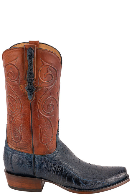 Lucchese Men's Antique Navy Red River Ostrich Boots - Side