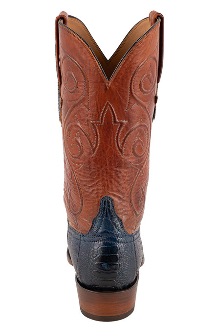 Lucchese Men's Antique Navy Red River Ostrich Boots - Back