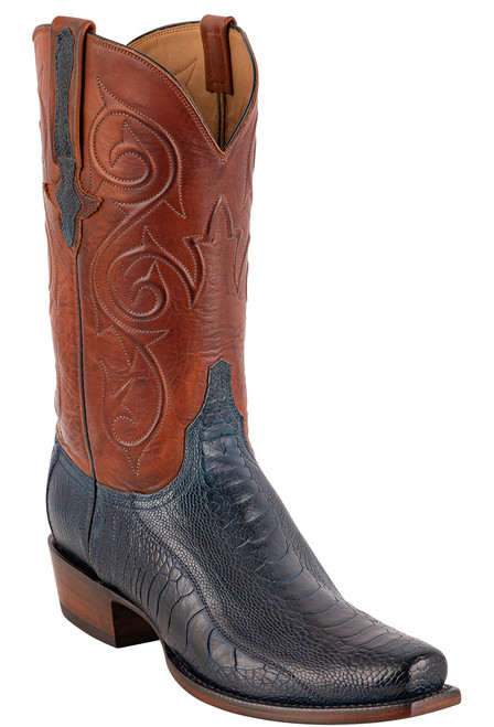 Lucchese Men's Antique Navy Red River Ostrich Boots - Angle