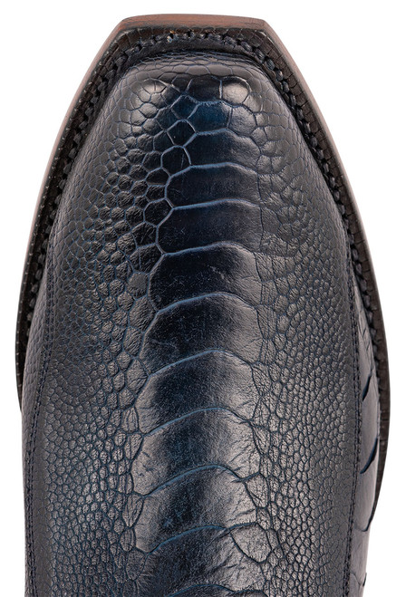 Lucchese Men's Antique Navy Red River Ostrich Boots - Toe
