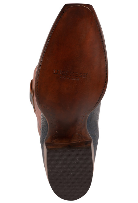 Lucchese Men's Antique Navy Red River Ostrich Boots - Bottom