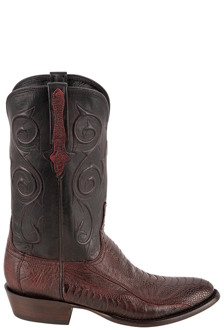 Lucchese Men's Black Cherry Red River Ostrich Leg Boots - Side