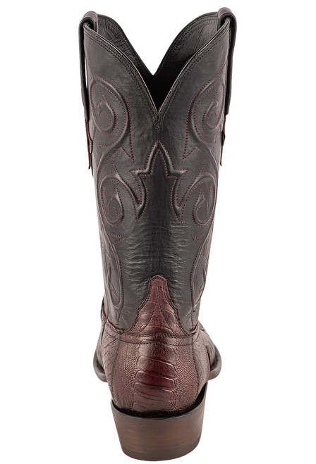 Lucchese Men's Black Cherry Red River Ostrich Leg Boots - Back