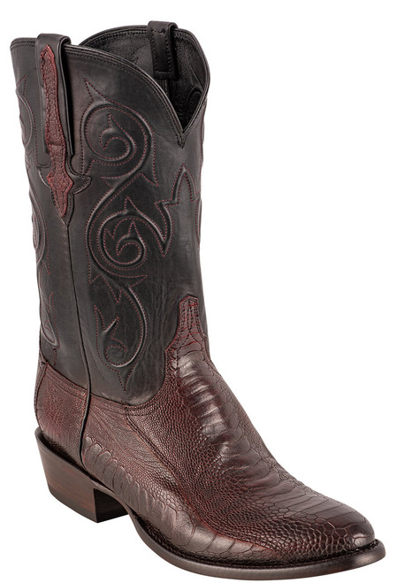 Lucchese Men's Black Cherry Red River Ostrich Leg Boots - Angle