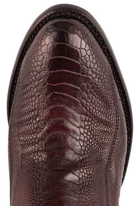 Lucchese Men's Black Cherry Red River Ostrich Leg Boots - Toe