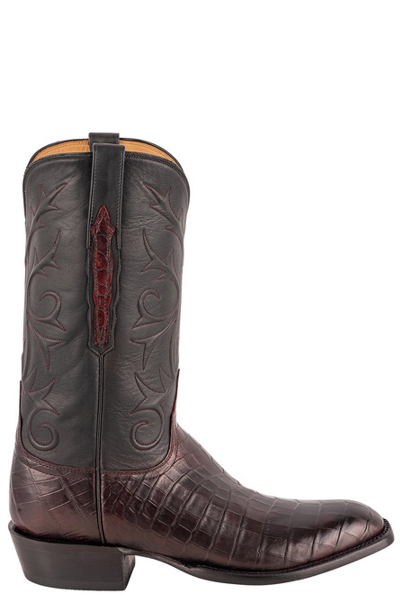 Lucchese Men's Antique Black Cherry Nile Belly Boots - Side