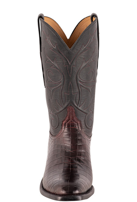 Lucchese Men's Antique Black Cherry Nile Belly Boots - Front