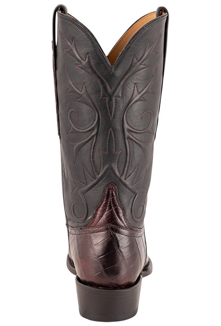 Lucchese Men's Antique Black Cherry Nile Belly Boots - Back