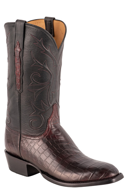 Lucchese Men's Antique Black Cherry Nile Belly Boots - Angle