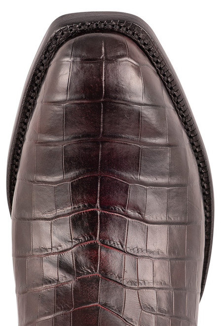 Lucchese Men's Antique Black Cherry Nile Belly Boots - Toe