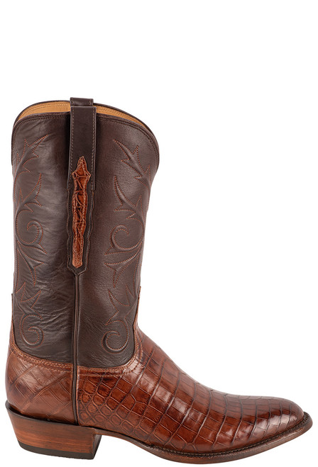 Lucchese Men's Antique Dark Brown Nile Belly Boots - Side