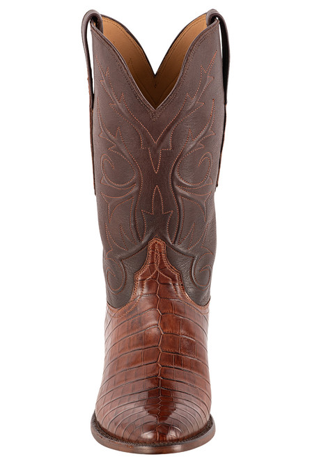 Lucchese Men's Antique Dark Brown Nile Belly Boots - Front