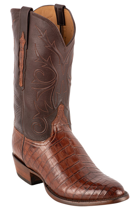 Lucchese Men's Antique Dark Brown Nile Belly Boots - Angle