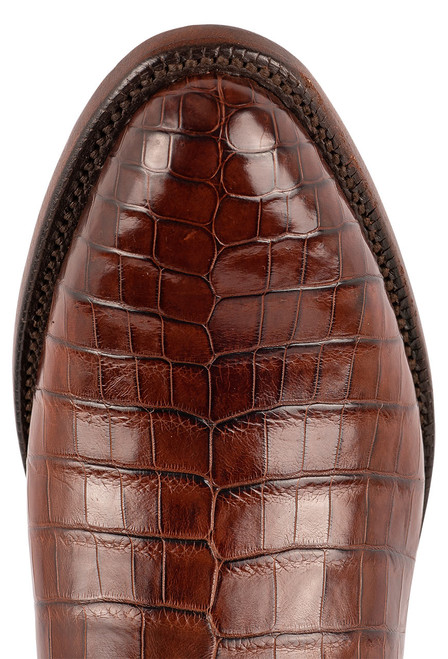 Lucchese Men's Antique Dark Brown Nile Belly Boots - Toe