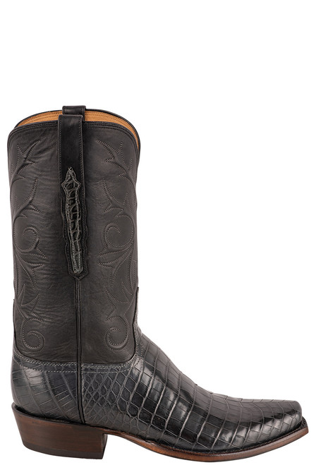 Lucchese Men's Antique Charcoal Nile Belly Boots - Side