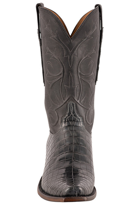 Lucchese Men's Antique Charcoal Nile Belly Boots - Front