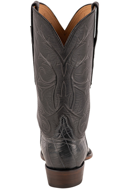 Lucchese Men's Antique Charcoal Nile Belly Boots - Back