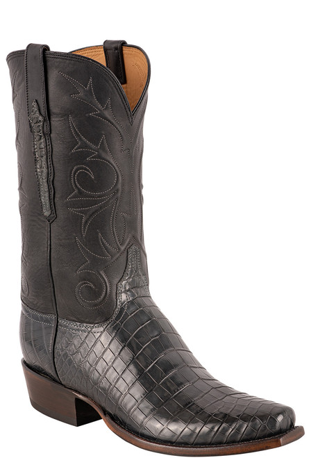 Lucchese Men's Antique Charcoal Nile Belly Boots - Angle