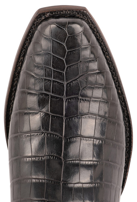 Lucchese Men's Antique Charcoal Nile Belly Boots - Toe