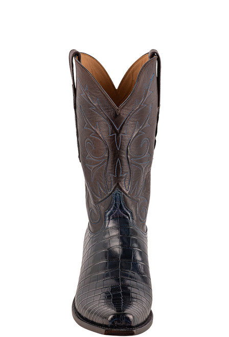 Lucchese Men's Antique Navy Nile Belly Boots - Front
