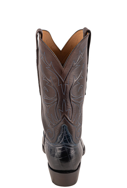 Lucchese Men's Antique Navy Nile Belly Boots - Back