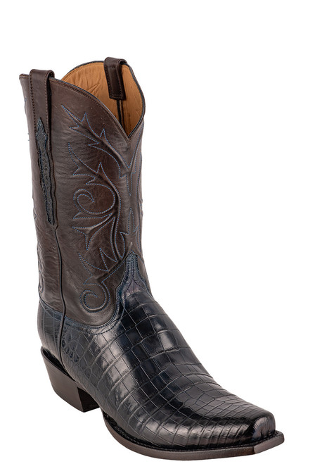 Lucchese Men's Antique Navy Nile Belly Boots - Angle