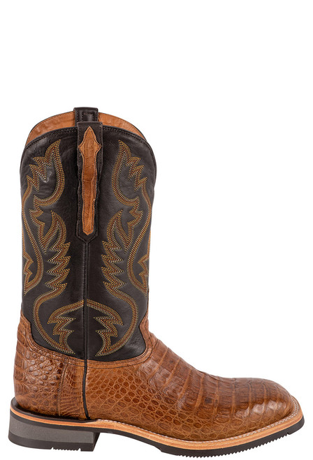 Lucchese Men's Antique Saddle Caiman Belly Rowdy Boots - Side