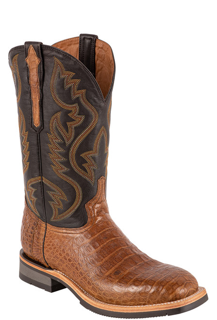 Lucchese Men's Antique Saddle Caiman Belly Rowdy Boots - Angle