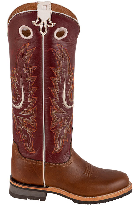 "Lucchese Women's 15"" Tan and Red Cowhide Ruth Boots - Side"