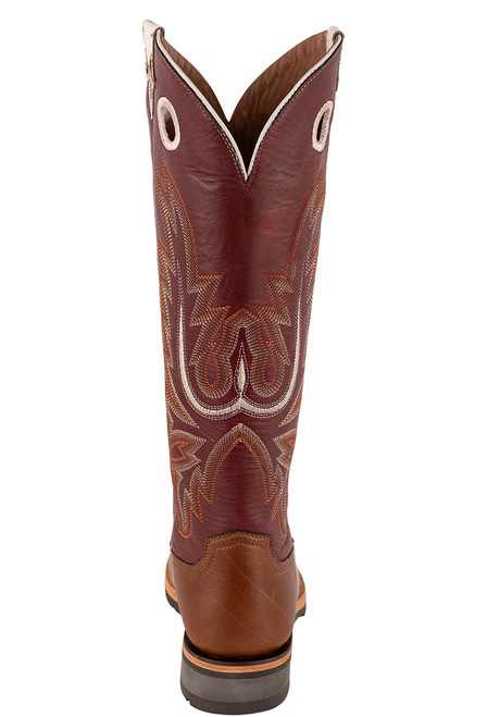"Lucchese Women's 15"" Tan and Red Cowhide Ruth Boots - Back"