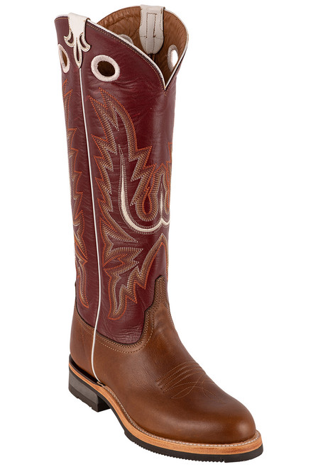 "Lucchese Women's 15"" Tan and Red Cowhide Ruth Boots - Angle"