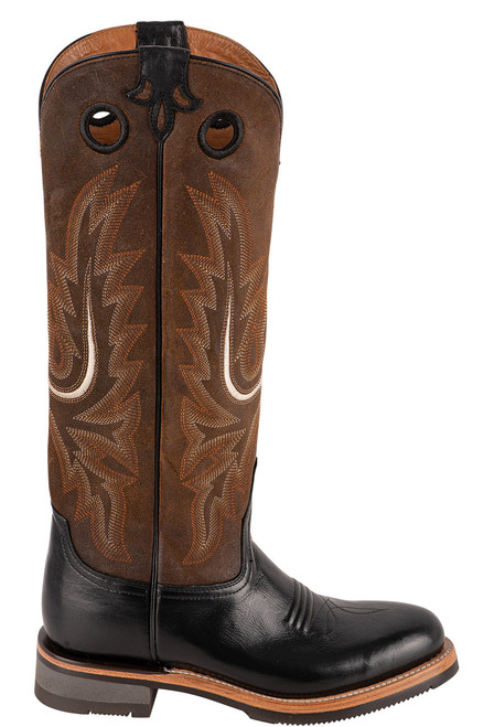 "Lucchese Women's 15"" Black and Chocolate Cowhide Ruth Boots - Side"