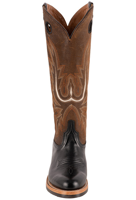 "Lucchese Women's 15"" Black and Chocolate Cowhide Ruth Boots - Front"