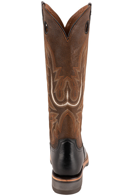 "Lucchese Women's 15"" Black and Chocolate Cowhide Ruth Boots - Back"